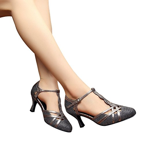 2 Womens Gray Pumps Ballroom Shoes Dance with 75 Party Heel BCLN 0WqUdvSw0