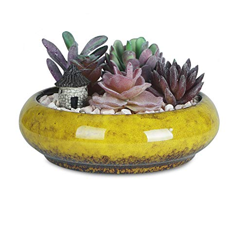 7.3 inch Vintage Round Ceramic Planter Pots Blue Glazed Succulent Holder Bonsai Flower Vase Garden Decorative Cactus Plants Stand Artificial Topiary Potted Container (Yellow)