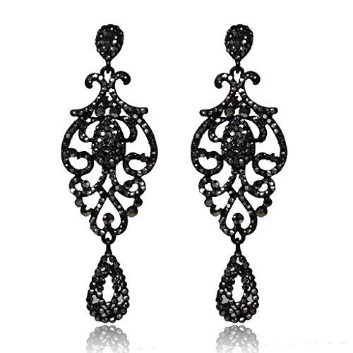 Elegant Vintage Dangle Crystal Earrings,Openwork Teardrop Chandelier Rhinestone Lady Girl Earrings Jewelry Gift (Black)