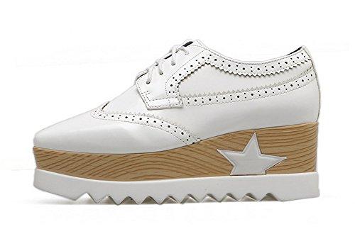 1TO9 Womens Wedges Platform Bandage Urethane Oxfords Shoes White SIYPQ24ST