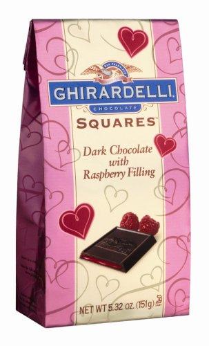 Ghirardelli Valentine's Chocolate Squares, Dark Chocolate with Raspberry Filling, 5.32-Ounce Bags (Pack of 4)