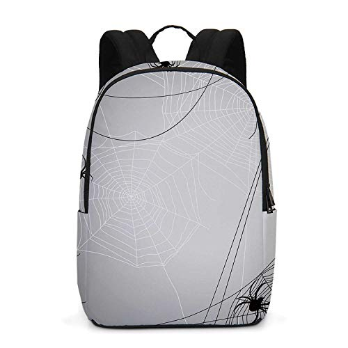 Spider Web Durable Backpack,Spiders Hanging from Webs Halloween Inspired Design Dangerous Cartoon Icon Decorative for School Travel,One_Size