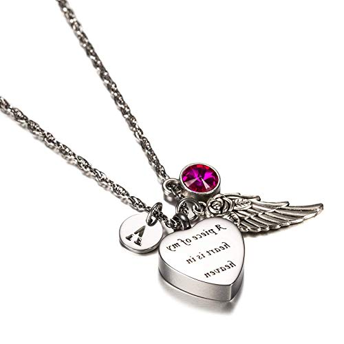 Epinki Stainless Steel Heart Rose Angel Wing Letter M Birthstone October Cubic Zirconia Urn Pendant Necklace Cubic Zirconia Birthstone Flip Flop