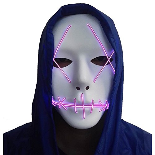 A-MORE Halloween Mask Cosplay LED Glow Scary EL Wire Light up Grin Masks for Festival Parties Costume (Purple)