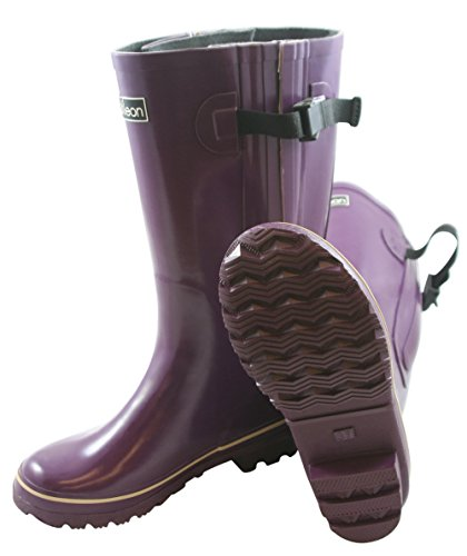 Jileon Extra Wide Calf Rubber Purple Rain Boots for Women-Widest Fit Boots in the US-up to 21 inch calves-Wide in the Foot and Ankle-Durable Boots for All Weathers- 8