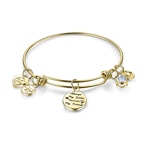 "Charmire Womens Engraved Message ""Always my sister forever my friend"" Dangle Charm Friendship Bangle Bracelets Inspirational Jewelry Girls Gifts"