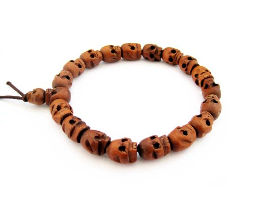 Wood Skull Beads Tibetan Buddhist Prayer Wrist Mala Bracelet ()