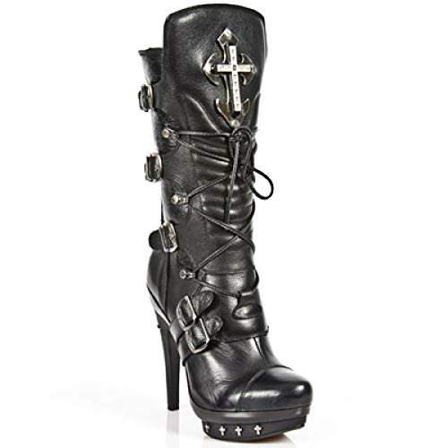 Women's Rock Rock Heavy Gothic Punk Leather Ladies Buckle Black PUNK061 Boots S1 Up New Lace Heel M nXSZd1Tqq