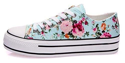 Ein bißchen Damen Studenten zuckerfarbe Sneaker Low Top Schuhe Canvas Textil flowers-b