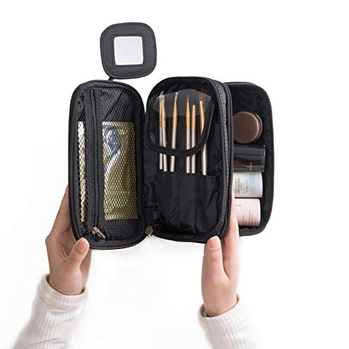 Price comparison product image Portable Makeup Bag,  WuHua Double Layer Cosmetic / Toiletry Brush Bag for Women,  with Mirror Travel / Train Kit Organizer,  Professional Makeup Pouch Purse for Travel Home