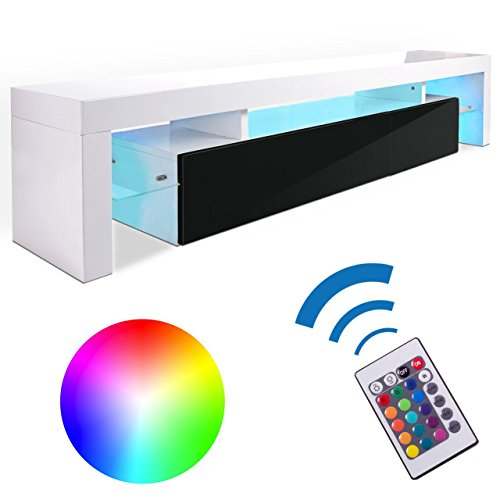 Homelux TV Board Lowboard Medienwand TV-Schrank mit RGB-LED und Push to open - Funktion in Schwarz-Weiss