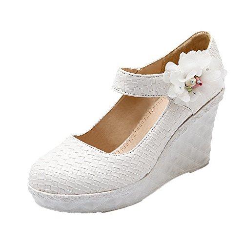 Amoonyfashion Womens Pu Hoge Hakken Ronde-teen Bloemen Hook-and-loop Pumps-schoenen Wit