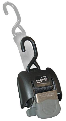 BoatBuckle G2 Stainless Steel Retractable Transom Tie-Down (Black), 1 Pair ()