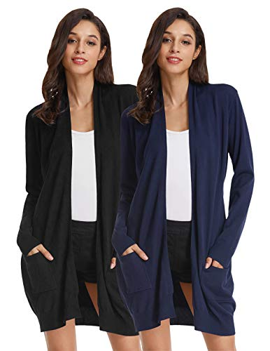 Women Classic Soft Long Sleeve Open Front Cardigan Sweater (XL,2 Pack Black Navy Blue)