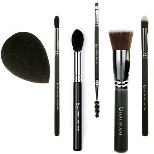 Best of Beauty Junkees 6pc Makeup Brush Set Includes Flat Top Kabuki, mini Tapered, pro Tapered Blending, pro Brow, pro Highlighter, Black Teardrop Makeup Sponge