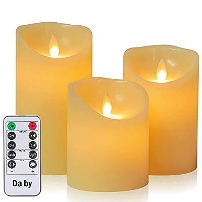 Candele LED di Daby, set Fiamma LED lampeggiante in 3 pezzi (10 cm, 12,8 cm, 15,2 cm), candele senza fiamma da 300 ore con telecomando a 10 tasti.[Classe di efficienza energetica A].