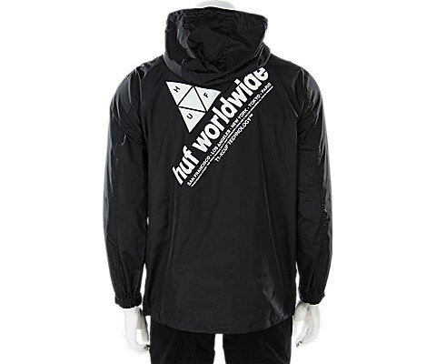 HUF Men's Peak Anorak Jacket, Black, XL