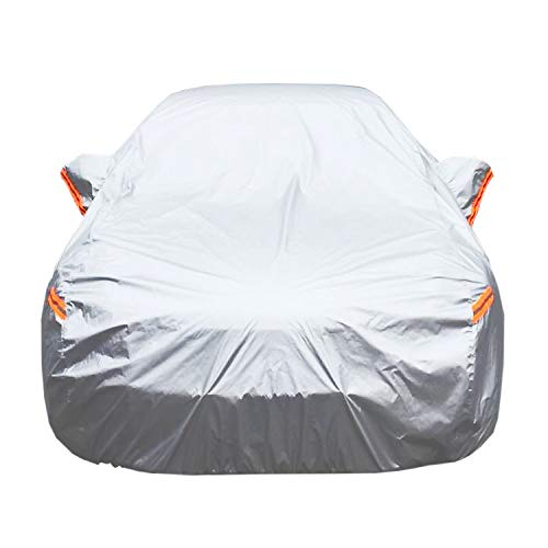 Universal Car Cover for Sedan, Waterproof, Dustproof, Snowproof All Weather, Effectively Reduce Temperature Universal UV Waterproof Full Car Cover Outdoor Auto Sun Protection Covers (191