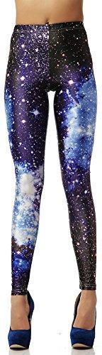 RiverPanda Galaxy Space Printed Footless Tights Leggings -