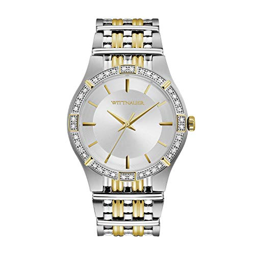 (Wittnauer Mens WN3081 Quartz Diamond Accent Silver Dial Two-Tone 44.5mm Watch (Renewed))