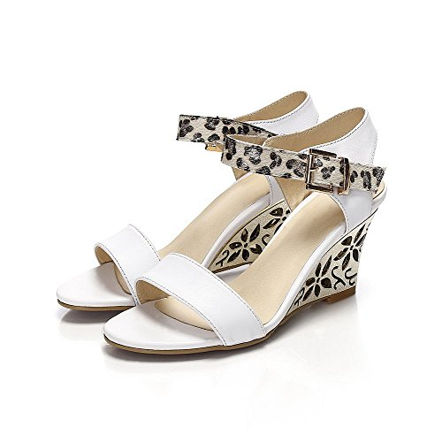 AllhqFashion Womens Soft Material Hook-and-loop Open Toe High-Heels Assorted Colors Sandals White bynd45O