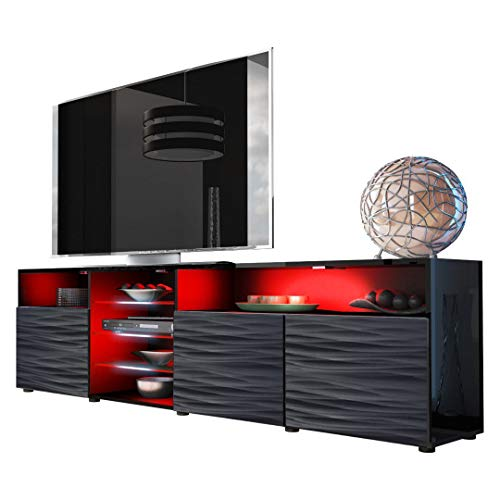 Tv Gloss High Black - Meble Furniture & Rugs TV Stand Roma Matte Body High Gloss Doors Modern TV Stand LED (Black/WavyBlack)