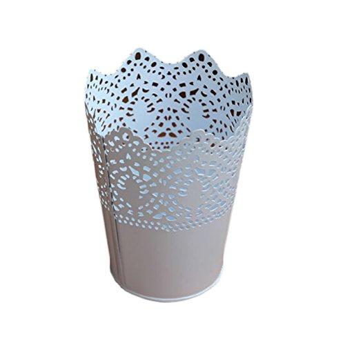 Metal Hollow Flower Planter Pots Vase Office Pen Pencil Storage Holder Desktop Organizers (Cut Out Design Metal)