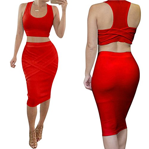 Riveroy Women's Bandage Tank Top Midi Skirt Outfit Two Piece Bodycon Dress M Red (Sexy Outfits Online)