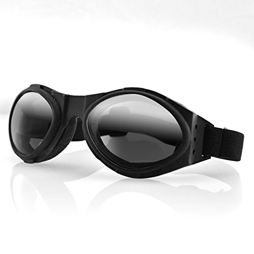 Bobster Eyewear BA001R, Bugeye Goggles, Black Frame, Smoked Reflective Lens