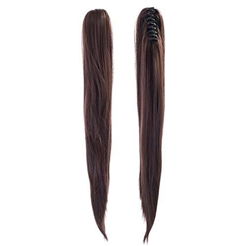 SWACC Straight Claw Clip Ponytail Extension Synthetic Clip in Ponytail Hairpiece Jaw Clip Hair Extension (Dark (Braid With Ponytail)