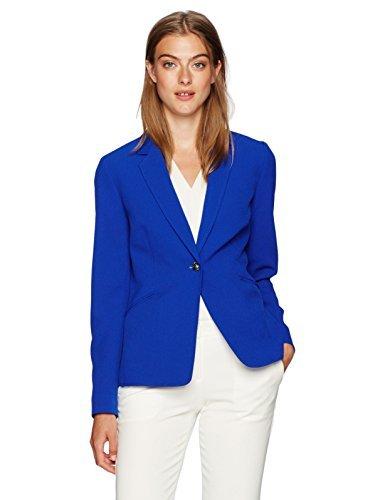 悪行子豚コインランドリーTahari by Arthur S. Levine Women's Crepe One Button Blazer Pool Blue 8 [並行輸入品]