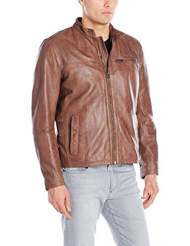 Cole Haan Men's Washed Lamb Leather Moto Jacket, British Tan, Medium