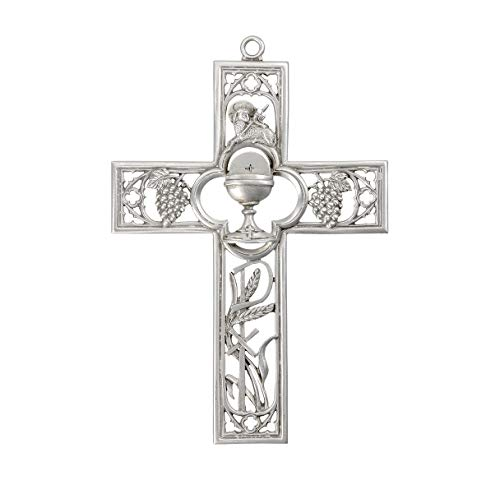 Silver-Toned Pewter First Communion Hanging Wall Cross Decor, 5 1/2 Inch
