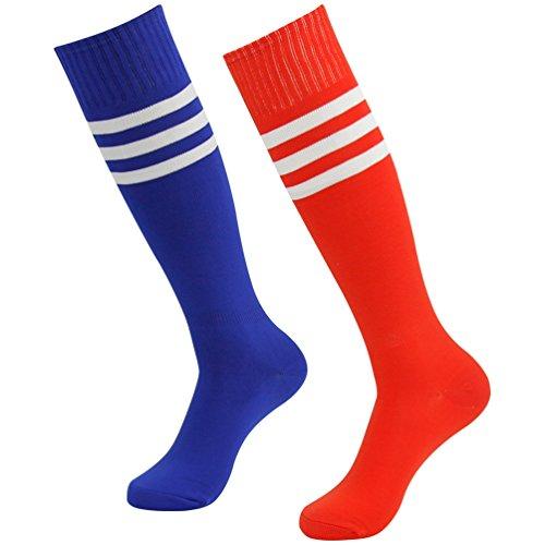 (Long Tube Socks, J'colour Boys Girls Compression Soccer Baseball softball Over-the-Calf Socks 2 Pairs Red&Blue)