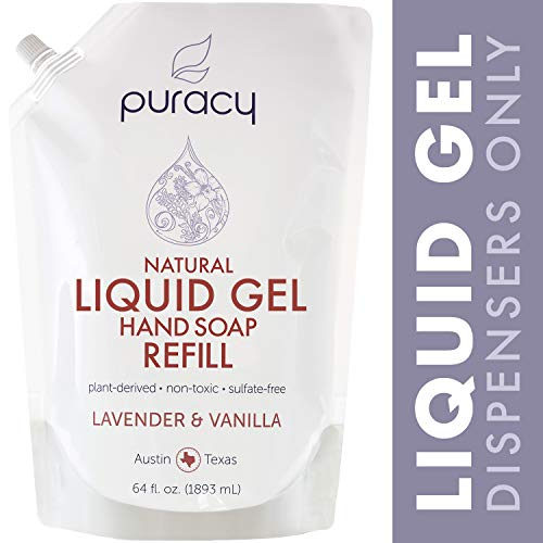 Puracy Natural Liquid Gel Hand Soap Refill, Sulfate-Free Hand Wash, Lavender & Vanilla, 64 Ounce