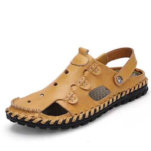 Verano Genuino Sandalias Diapositivas NSLXIE Hombre Brown Toe Zapatos eu40 de Transpirables Playa EU42 Pull Cerrado 43 Cuero Yellow Slipper 38 Tamaño on Antideslizantes de a CCqt8np
