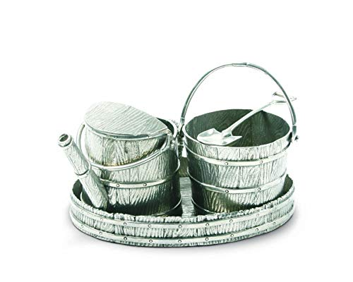 (Vagabond House Creamer Set Pewter Watering Can - 4 pieces Sugar Bowl/Creamer/Tray and Spoon 7