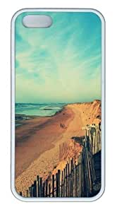 Beach at dusk TPU Silicone Case Cover for iPhone 5/5S White Thanksgiving Day gift