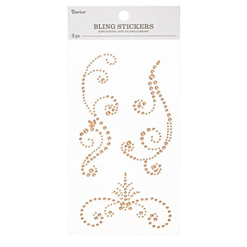 Darice 30053384 Rhinestone 3 Piece Flourish Bling Sticker Strips Champagne