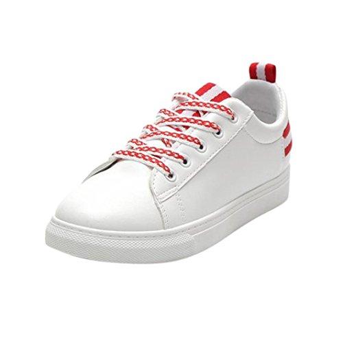 Fheaven Dames Sneaker Ronde Neus Platte Hak Veter Gymschoenen Vrijetijdsschoenen Flats Antislip Rood
