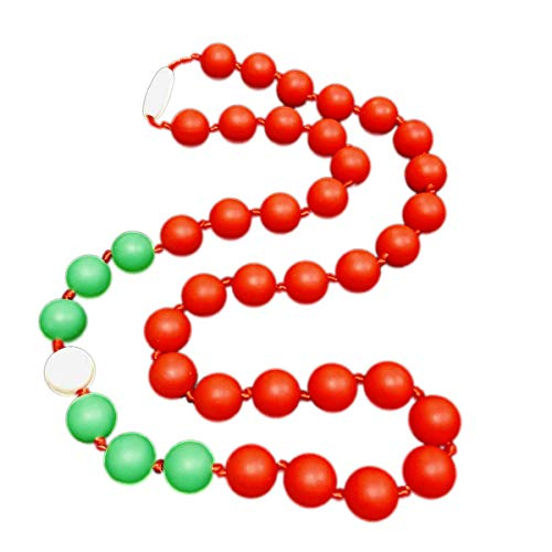 'Holiday Party' Lola Teething Necklace (Candy Cane Red, Snowball White, Holiday Green)