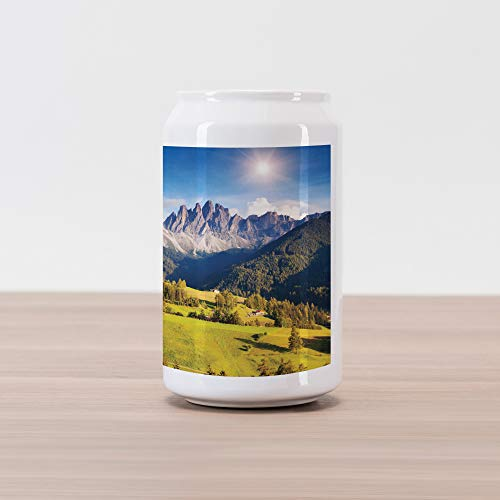 Ambesonne Mountain Cola Can Shape Piggy Bank, Village View with Mountain Peaks and a Meadow Northern European Alps Artwork, Ceramic Cola Shaped Coin Box Money Bank for Cash Saving, Grey and Green