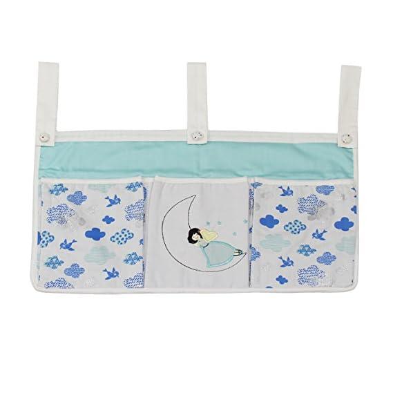 Kadambaby 3 Pocket Hanging Storage Organizer for Diapers, Blue