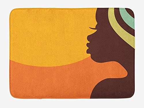 (African Woman Bath Mat, Teenage Girl Pretty Face Profile Abstract Sunset Calm Evening, Plush Bathroom Decor Mat with Non Slip Backing, 23.6 W X 15.7 W Inches, Orange Salmon Dark Brown)
