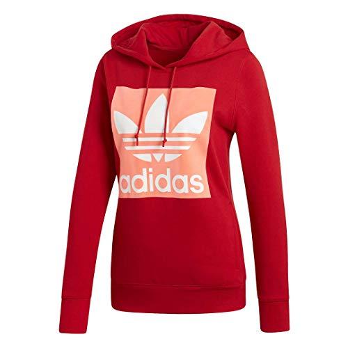 adidas Originals Women's Trefoil Hooded Sweatshirt, Scarlet, Medium