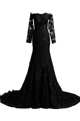 Partykleid Abendkleid Ivydressing Festkleid Schwarz Damen Promkleid Schleppe Lang Spitze Elegant Ballkleid Aermel qYq7Zv
