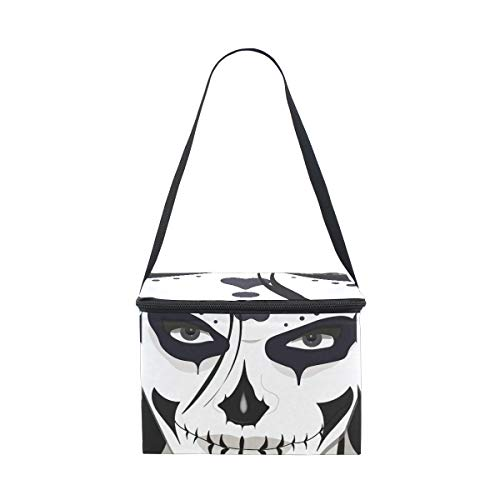 LORVIES Halloween Guy Makeup Style Insulated Lunch Bag Cooler Reusable Tote Bag with Adjustable Shoulder Strap for Women Men -