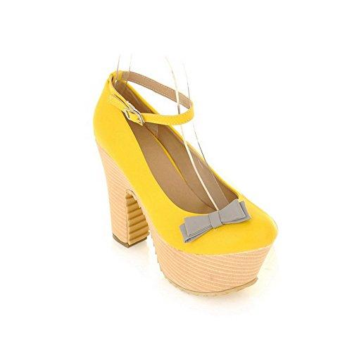 Balamasa Womens Buckle High Heels Solid Pumps Shoes Yellow em7HSD