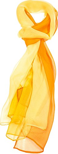 Hand By Hand Aprileo Two-Tone Silk Blend Scarf Ombre Oblong Scarf Lightweight [04 Gold Orange](One Size)