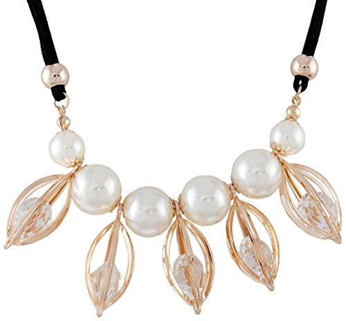 9blings Marvelous Crystal Pearl Gold Plated Necklace Set Marvelous Pearl Set